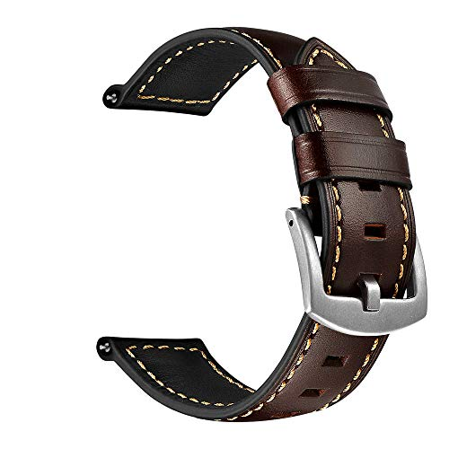 OXWALLEN Compatible with Samsung Active/Active 2, Samsung Galaxy Watch 42mm, Gear Sport, Vivoactive 3 Quick Release Watch Band, fit 20mm Mens Watches - Chocolate/Silver