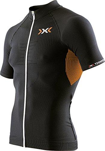 X-Bionic Maillot de Cyclisme zippé sur Toute la Longueur pour Homme, Homme, Biking Man The Trick Ow Shirt SH_SL.Full Zip, Black/Orange Shiny, s