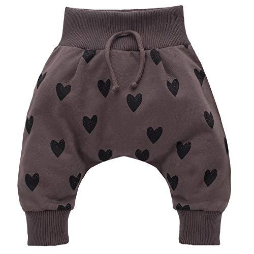 Pinokio - Little Bird - Bébé Fille Pantalons Pants Marron avec Cœur Baby Harem Pants Baggy 100% Coton Girls 62-104 cm (68 cm, Marron)