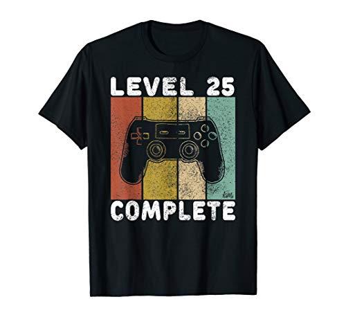Herren 25. Geburtstag Männer Shirt Gamer TShirt Level 25 Complete T-Shirt