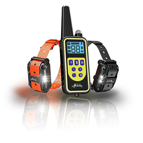 GoPetsGo 2640 Feet Rechargeable Waterproof Dog Training Collar with Remote, Vibration/Shocks and Sound Mode of Operation with White Back-Light LED Display