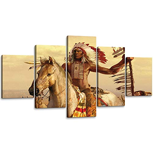 YOUHONG 5 Piece Modern Native American Wall Decor Native Indian Man Riding Horse Native American Indian Canvas Wall Art Picture Artwork for Bedroom Office Decor (60''W x 32''H)