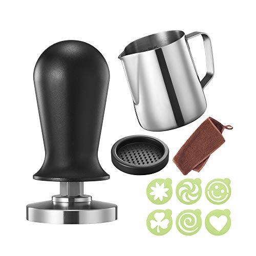 51mm Espresso Tamper Set kalibriert inkl. Tampermatte und Milchkännchen - Der Deluxe Kaffeemehlpresser für Siebträger Kaffeemaschine - Premium Barista Edelstahl Kaffeedrücker Espresso-Stempel