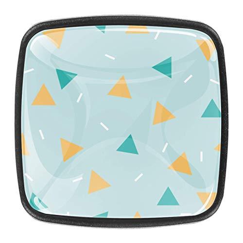 4 pomos cuadrados para cajón de cristal de 30 mm, tiradores de gabinete, diseño geométrico triángulo amarillo azul