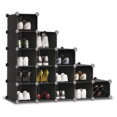 YUEWEIWEI 15 CUBO BLACK ZAPETHER, organizador de armario de bricolaje, estanterías de almacenamiento, librería de almacenamiento, unidad de estantería de enclavamiento, unidad de soluciones para la ro