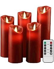 YIWER Ledkaarsen, vlamloze kaarsen,12/15/17/20/22 cm,set van 5 echte was met realistische dansende led-vlammen en afstandsbediening met 10 toetsen,met 2/4/6/8-uurs timer,300+ uur (ivoor,Rood)