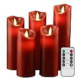 YIWER Velas sin llama Φ 2.2 x H 5.5'6'6.5'7'8'Juego de 5 pilas de plástico de cera real no de plástico control remoto de 10 teclas con función de temporizador de 2/4/6/8 horas 200 horas(rojo)