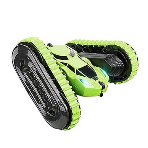 LSB-SHOWER 2 in 1 RC Auto 2.4Ghz Stunt Drift Car Tank Tracked Car Jumping Car 360 ° Flip RC Giocattoli per Veicoli con Luce a LED ( Color : Green )