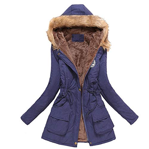 derenzide Women's Winter Warm Coat Hooded Thicken Fleece Lined Parkas Overcoat Outerwear Jacket with Pockets Drawstring Navy