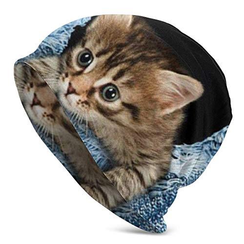 NA Bonnet d'hiver chaud en tricot pour homme et femme Motif chat imprimé