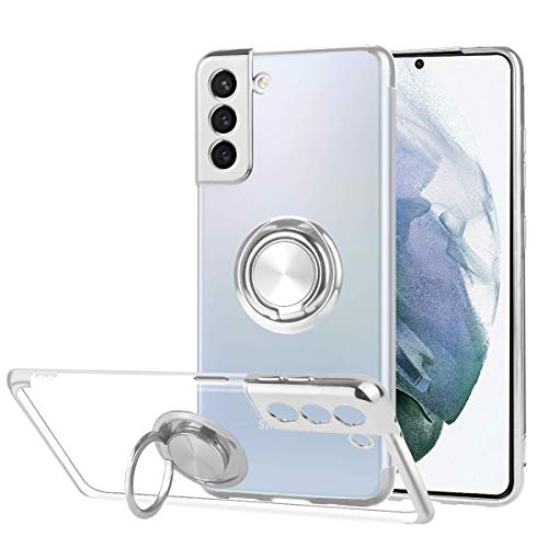 Ownest Compatible with Samsung Galaxy S21+ Plus Case with Built-in 360 Rotatable Ring Kickstand Fit Magnetic Car Mount and Clear Transparent Soft Slim TPU for Samsung S21+ Plus-Silver
