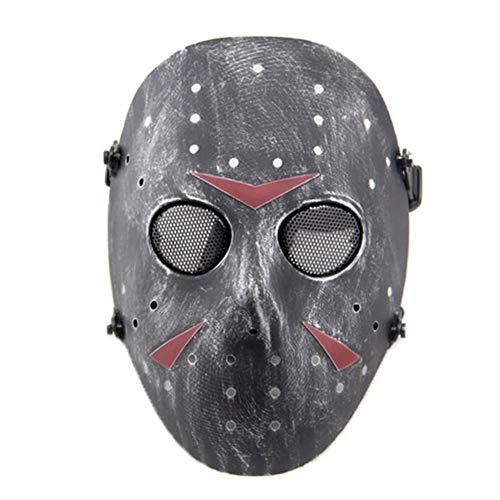 SGOYH Taktisch CS Games Airsoft Paintball Schutz Jason Metall Mesh Masken Volles Gesicht Schutzmaske für Cosplay Kostüm Party Halloween (Silber schwarz)
