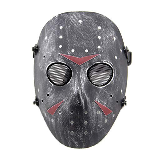 FOJMAI CS Games Tactische Airsoft Paintball Volledige Gezicht Beschermende Maskers Jason Metalen Mesh Masker voor Masquerade Halloween Kostuum Party Cosplay