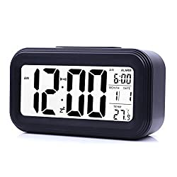 JJCALL Alarm Clock LED Display Digital Alarm Clock Snooze Night Light Battery Clock with Date Calendar Temperature for Bedroom Home Office Travel (Black)