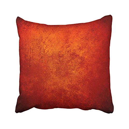 Emvency Abstract Orange Red Gold Warm Colors Black Corners Vintage Rough Distressed Sponge Fall Autumn Halloween Throw Pillow Covers 18x18 inch Decorative Cover Pillowcase Cases Case Two Side