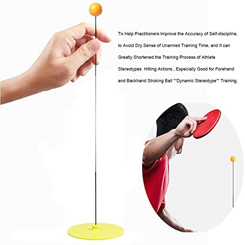 TOMATION Elastic Soft Shaft Table Tennis Trainer, 90CM Elastic Rod Decompression Eye Training Ball With Leisure Decompression Sports 2 Table Tennis Paddle & 3 Ping Pong Ball Set Indoor Outdoor Play