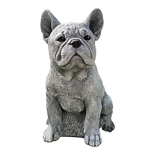 Hopowa Steinfigur französische Bulldogge Dogge Hund, Gartenstatuen Deko Realistische Harz-Tierskulptur für Außendekoration Hundeliebhaber Geschenk, Frost- und Wetterfest
