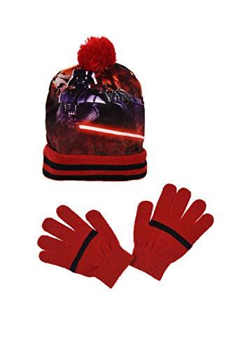Star-Wars Kinder Jungen Winter-Set 2-TLG. Darth Vader Bommel-Mütze & Handschuhe Rot, Größe:52