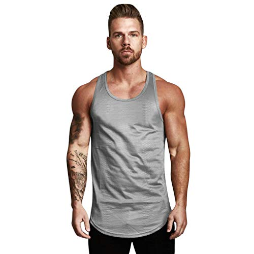 Leegor Men's Solid Sleeveless Quick Dry Tank Top for Outdoor Camping Training Vest Bodybuilding Sport Fitness T-Shirt