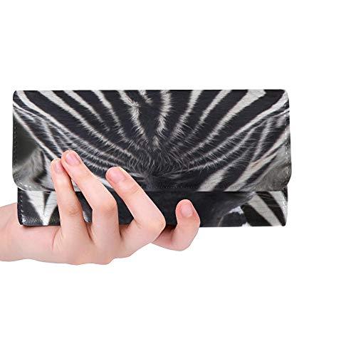 Einzigartige benutzerdefinierte Zebra Stallionfacing Kamera dunkle Frauen Trifold Wallet Lange Geldbörse Kreditkarteninhaber Fall Handtasche