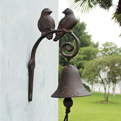 TentHome Antik Glocke Türglocke Rustikal Gusseisen Vogelmotive, braun Landhaus Gartendeko