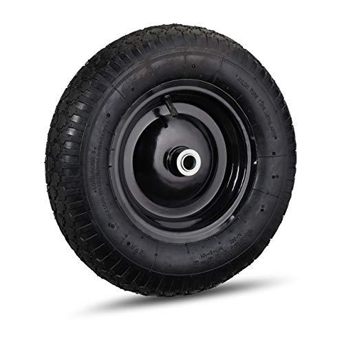 Relaxdays Kruiwagenwiel 4.80 4.00-8, luchtband, reservewiel, kruiwagen, stalen velg, ventiel, banden tot 120 kg, zwart