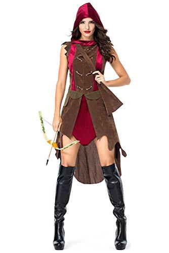 beckyring Disfraz de Arquero Adulto Cazador Disfraz Halloween Mujeres Vestido con capucha medieval marron con cosplay de guerrero adulto Quiver,M