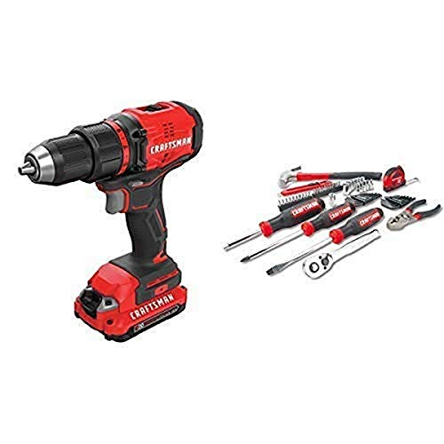 CRAFTSMAN V20 Cordless Drill/Driver Kit, Brushless with Mechanics Tools Kit/Socket Set, 57-Piece (CMCD710C2 & CMMT99446)