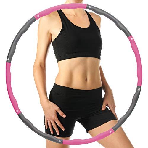 HONEYWHALE Hula Hoop Reifen Erwachsene, Hula Hoop 8 Abschnitt Abnehmbares Sport Fitness Hoola Hoop Reifen 1.2 Kg Kinder füR Gewichtsreduktion,Abnehmen,Massage,Bauchformung(Rosa)