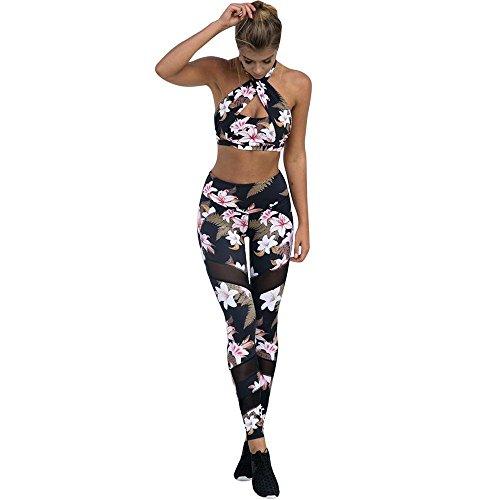 VJGOAL Mujeres Moda Casual Estampado de Flores Sexy Malla Empalme Pantalones de Yoga Cintura Alta Deportes Correr Fitness Pantalones Elasticidad Leggings Pantalones
