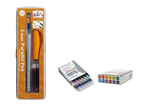 lot 1Stylo plume caligraphie Pilot Parallel Pen avec Plume 2,4mm Rechargeable + boîte avec 12Cartouches assorties