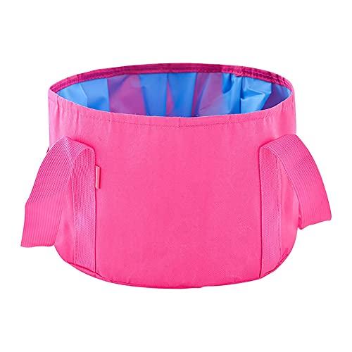 WGDPMGMZ usammenklappbareFußbadewanne Faltende Reise Camping Waschtisch Eimer Waschbecken Fußbecken Einweichen Tasche Multifunktionale Eimer (Color : Pink)