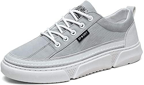 Low Help - Zapatos deportivos de lona transpirable de sección delgada para hombre (9,5, gris)