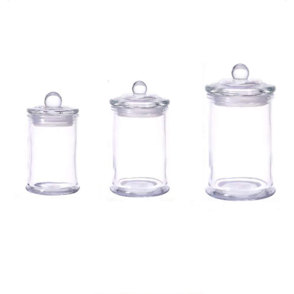 PYXM Frascos de Almacenamiento de Vidrio Artículos para el hogar Enteros Botes de boticario de Vidrio Transparente-Frasco de algodón-Recipientes organizadores de Almacenamiento para baño Juego de 3: Amazon.es: Hogar