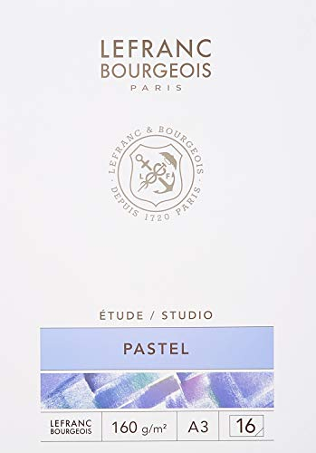 Lefranc & Bourgeois 301338 Pastellmalblock, Weiß, A3-16 Blatt Pastellpapier im Block, 160g/m²