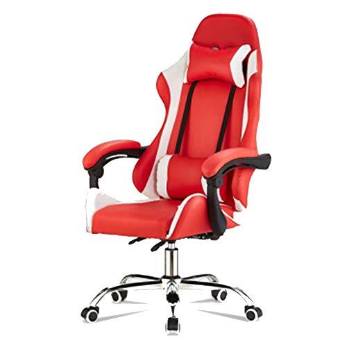Silla de videojuegos ajustable respaldo alto silla de oficina, tumbona Internet Cafe respaldo respaldo silla, aleación, color, Redandwhite