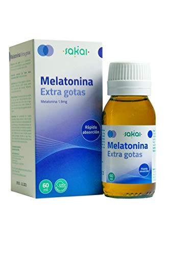 Sakai – Melatonina Extra gotas, frasco 60 mililitros. Conciliación rápida del Sueño. Fácil dosificación, 1,9mg de Melatonina por dosis. Sabor limón.