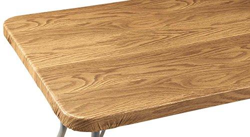 Miles Kimball Wood Grain Vinyl Elasticized Banquet Table Cover - 72' x 30' Oblong