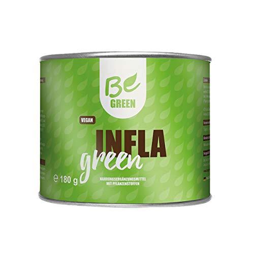 BeGreen Infla Green mit Bio-Kurkuma Pulver mit MSM, Ingwer, Piperin, Bromelain, Papain und Zink | pflanzliche Inflammation Intensivkur ohne chemische Entzündungshemmer | 180g hochdosiert