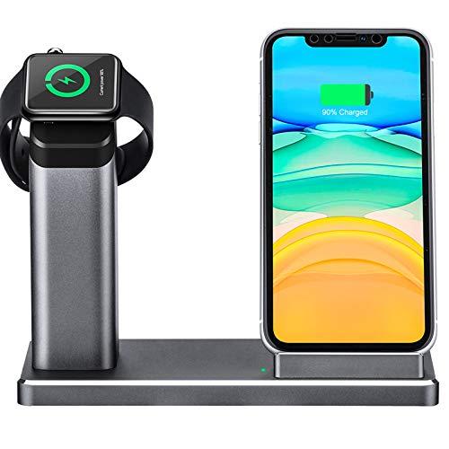 15W Wireless Charger, 2-in-1 Aluminium Schnelles Kabelloses Ladestation mit 18W USB-C Ladegerät, Qi-Zertifiziert, für iWatch, Airpods Pro, iPhone 8/X/XR/Xs Max/11 Pro, Galaxy Note 10/S10/S9/S8 usw