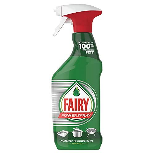 Fairy Detergente para lavavajillas Power Spray cítricos 500 ml elimina hasta el 100% de grasa persistente, elimina la grasa sin esfuerzo.