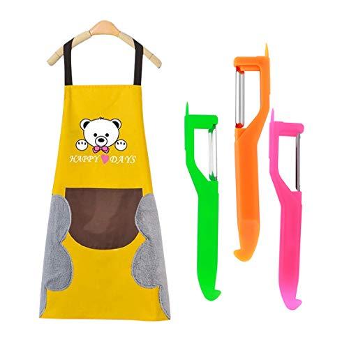 QiCheng&LYS Grembiule da Cucina da Uomo e da Donna, Spesso, Impermeabile, con 2 Tasche, a Righe, Nero/Marrone (103 x 63,5 cm) (Yellow Bear)