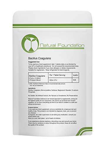 Bacillus Coagulans 500m CFU Tablets - Daily Probiotic, Friendly Bacteria, UK | Natural Foundation Supplements (1000 Tablets)