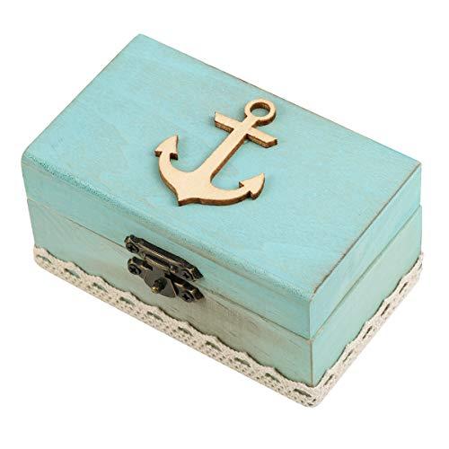 PRETYZOOM Ring Box Holz Anker Ringkissen Maritime Box Vintage Ehering Box Schmuck Aufbewahrungsbox(Füller Zufällige)