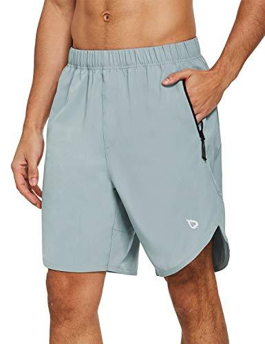 BALEAF Men's 8' Athletic Workout Running Shorts Quick Dry Zipper Pockets Gym Short Unlined UPF 50+ Light Grey Size M