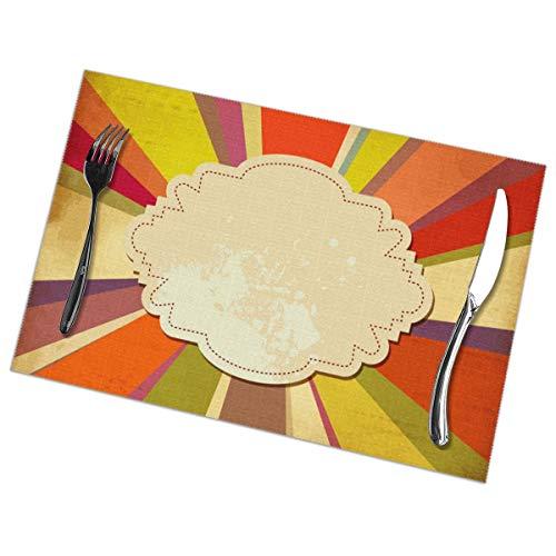 NOBRAND Retro Achtergrond Met Papier Frame Voor Tekst Placemat Wasbaar Voor Keuken Diner Tafelmat, Makkelijk Te Reinig Makkelijk Te Vouwen Plaats Mat 12x18 Inch Set Van 6