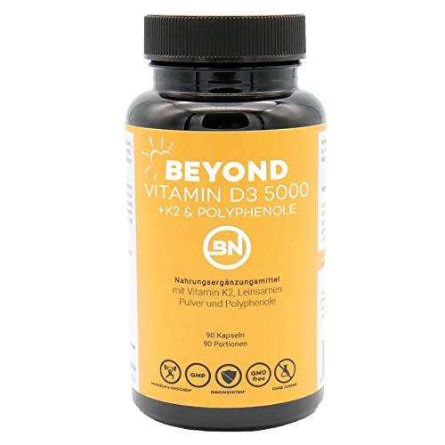 Beyond Vitamin D3 K2-MK7 5000 Depot mit Leinsamen Pulver und Antioxidantien, 90 hochdosierte Kapseln - hohe Bioverfügbarkeit & ohne Zusatzstoffe