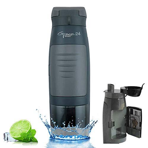 Botella de agua para deporte, gimnasio, gimnasio, gimnasio, universidad, escuela, bicicleta, exterior, 750 ml, botella de agua con compartimento para dinero, tarjetas, llaves, sin BPA, gris