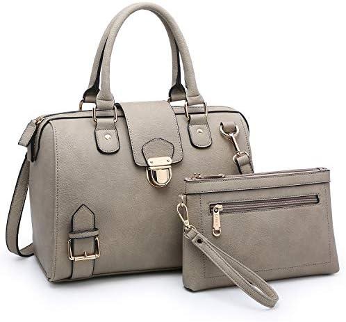 Dasein Women Barrel Handbags Purses Fashion Satchel Bags Top Handle Shoulder Bags Vegan Leather product image