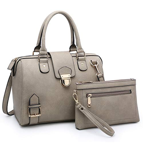 Dasein Women Barrel Handbags Purses Fashion Satchel Bags Top Handle Shoulder Bags Vegan Leather Work Bag Tote (Taupe)